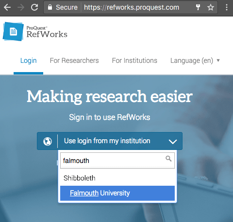 Refwork screenshot showing the log in box