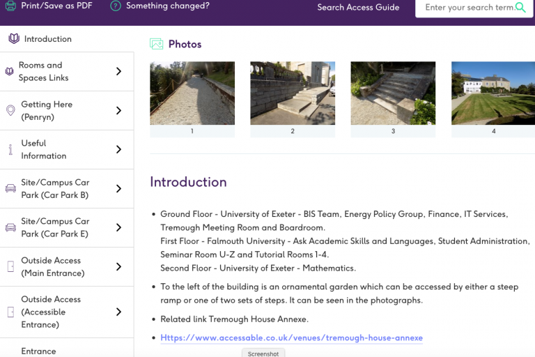 Screenshot of an AccessAble guide for Tremough House, Penryn campus