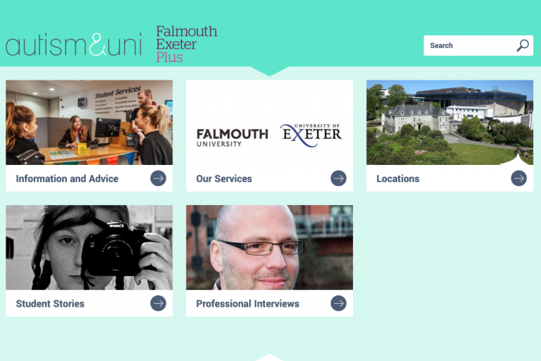 Screenshot of the Autism & Uni toolkit for Falmouth and Exeter (Cornwall) students