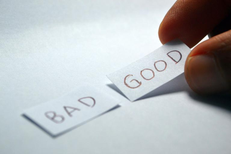 Decorative image of the words 'bad' and 'good'.