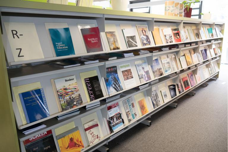 Photo of journals in Library Penryn Campus