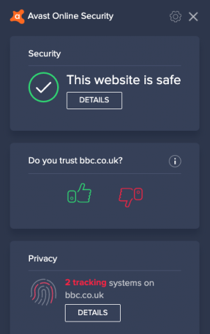 Screenshot of Avast showing a webpage is safe