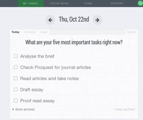 Screenshot of Dayboard showing five tasks to complete