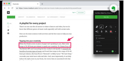 Screenshot of Evernote Web Clipper showing editing pane for clipped section