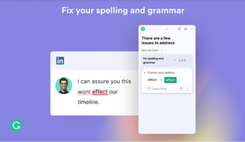 Screenshot of Grammarly showing suggested corrections