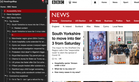 Screenshot of Headings Map showing the headings structure in a BBC News webpage